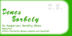 denes borbely business card